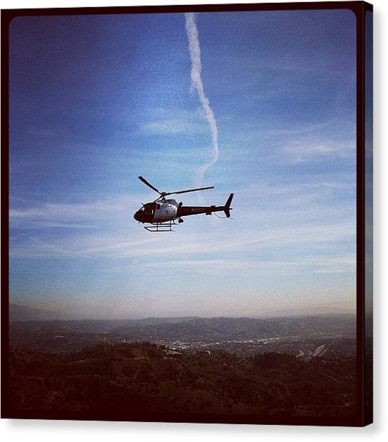 Helicopters Canvas Print - Hiking And The Po-po Decides To Take by Andres Cruz