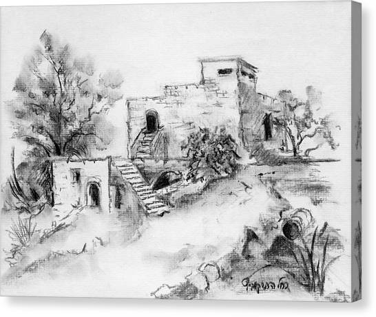 Hirbe Landscape In Afek Black And White Old Building Ruins Trees Bricks And Stairs Canvas Print