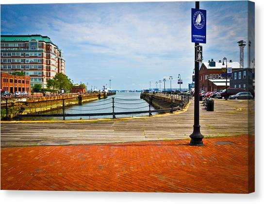 Historic Boston Boardwalk Canvas Print by Erica McLellan