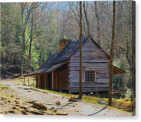 Historic Cabin On Roaring Fork Motor Trail In Gatlinburg Tennessee  Canvas Print