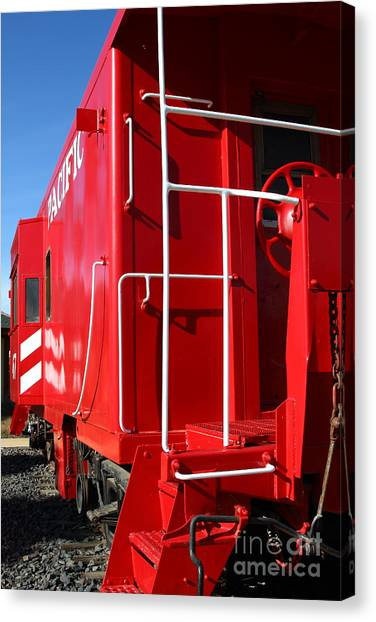 Old Caboose Canvas Print - Historic Niles District In California Near Fremont . Western Pacific Caboose Train . 7d10622 by Wingsdomain Art and Photography