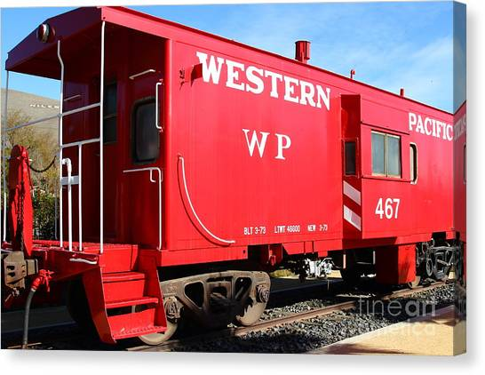 Old Caboose Canvas Print - Historic Niles District In California Near Fremont . Western Pacific Caboose Train . 7d10627 by Wingsdomain Art and Photography