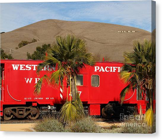 Old Caboose Canvas Print - Historic Niles District In California Near Fremont . Western Pacific Caboose Train . 7d10718 by Wingsdomain Art and Photography