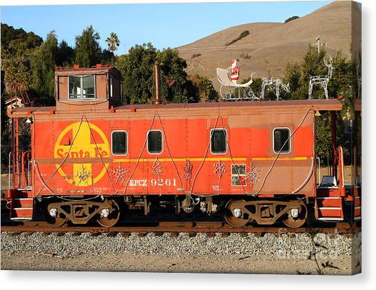 Old Caboose Canvas Print - Historic Niles Trains In California . Old Sante Fe Caboose . 7d10832 by Wingsdomain Art and Photography