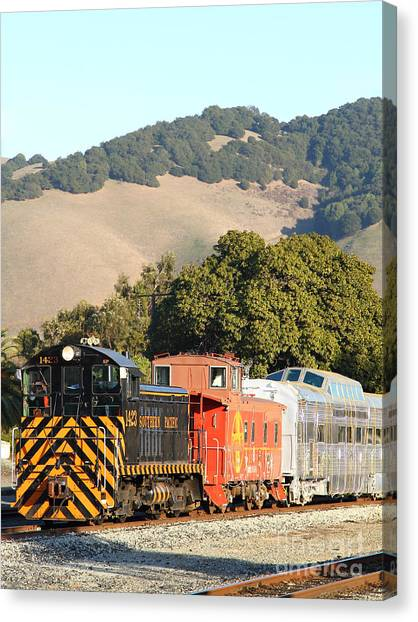 Old Caboose Canvas Print - Historic Niles Trains In California . Old Southern Pacific Locomotive And Sante Fe Caboose . 7d10819 by Wingsdomain Art and Photography