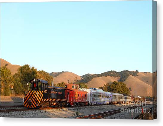 Old Caboose Canvas Print - Historic Niles Trains In California . Old Southern Pacific Locomotive And Sante Fe Caboose . 7d10869 by Wingsdomain Art and Photography