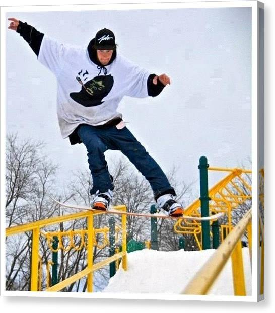 Snowboarding Canvas Print - Hitting Some Rails @jswed2 by Uniqq Clothing