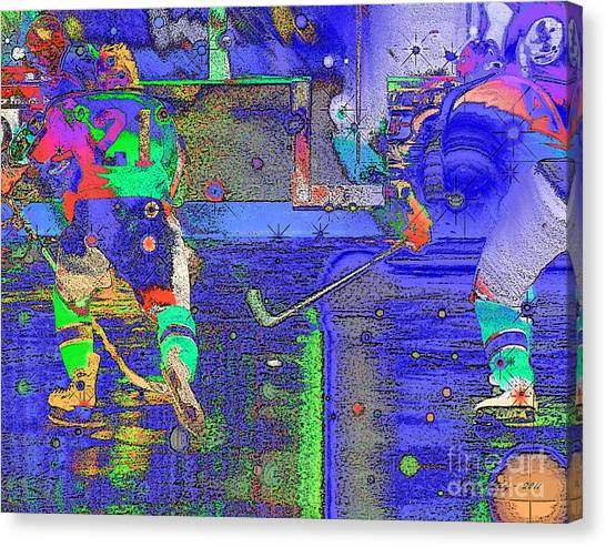 Hockey Abstract Canvas Print by Rod Seeley