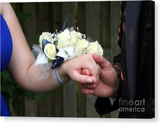 Holding Hand With Wrist Corsage Canvas Print