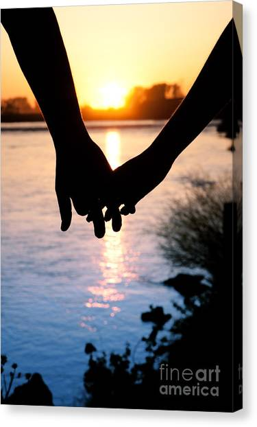 Holding Hands Silhouette Canvas Print