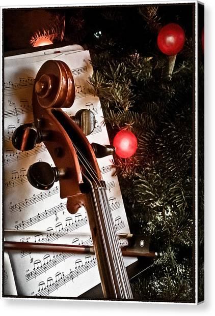 Canvas Print featuring the photograph Albuquerque, New Mexico - Holiday Cello by Mark Forte