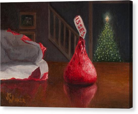 Canvas Print featuring the painting Holiday Kiss by Joe Winkler