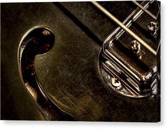 Bass Guitars Canvas Print - Hollow Body by Scott Norris