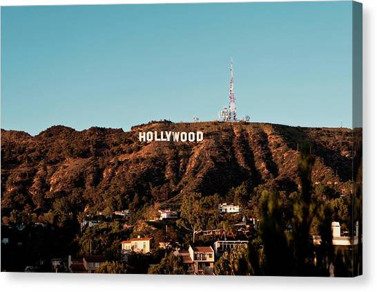 Canvas Print featuring the photograph Hollywood Sign At Sunset by Lorraine Devon Wilke