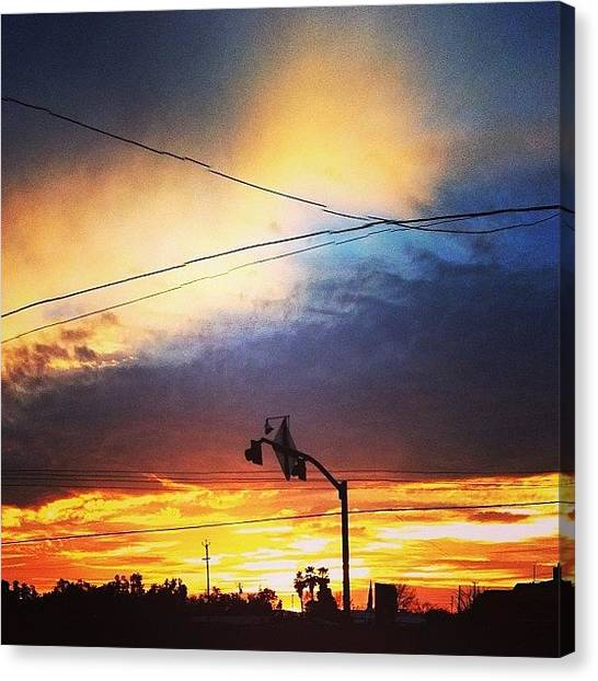 Stoplights Canvas Print - Holy Wow!!!! #sunset #stoplight by Jade Child