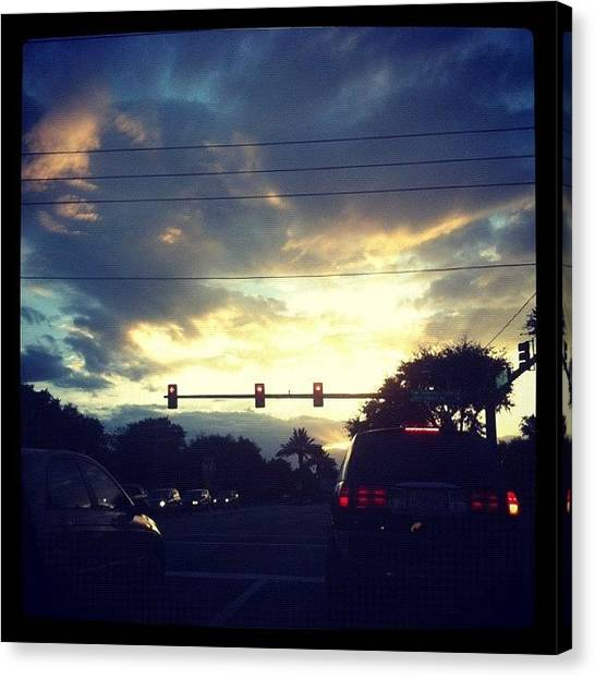 Stoplights Canvas Print - #home #florida #evening #sky #palmtree by Amber Baby