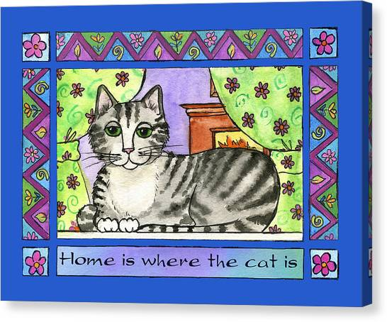 Home Is Where The Cat Is  Canvas Print by Pamela  Corwin