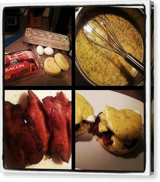 Bacon Canvas Print - Home Made Eggs Benny !! #food by Oliver Parker