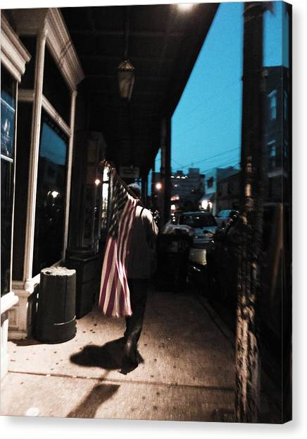 Homeless Man Carrying American Flag In New Orleans Canvas Print
