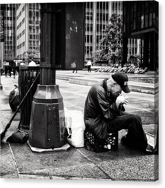 Roman Art Canvas Print - #homeless #men On The #streets Of by Roman Kruglov
