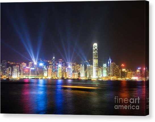 Hongkong Canvas Print - Hongkong At Night by Konstantin Kalishko