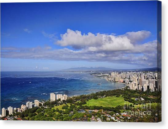 Honolulu From Diamond Head Canvas Print