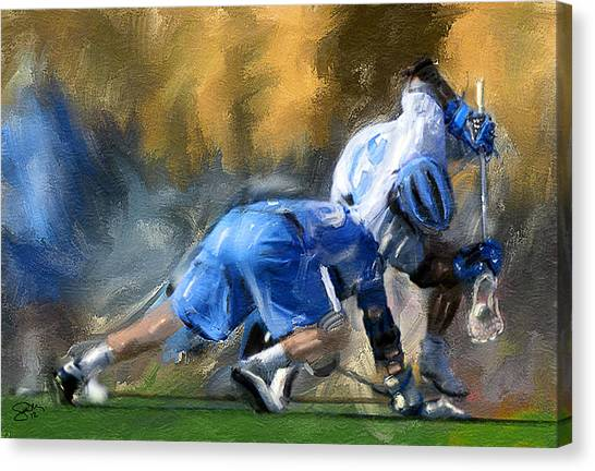 College Lacrosse Faceoff 3 Canvas Print by Scott Melby