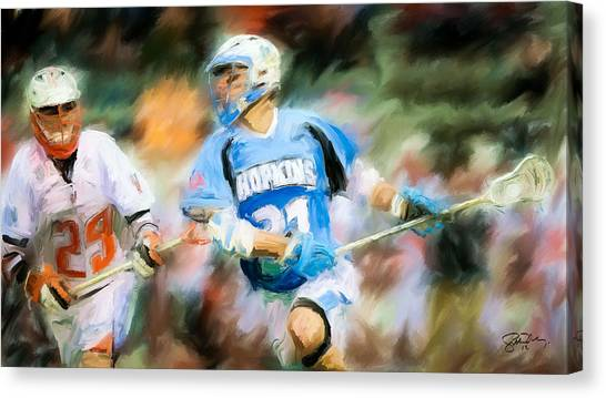 College Lacrosse Midfielder Canvas Print by Scott Melby