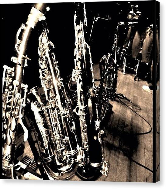 Saxophones Canvas Print - Horns #horns #housemusic #jazz #music by David Sabat