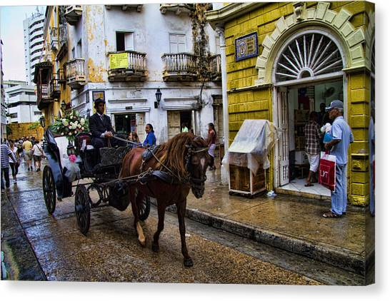 Colombian Canvas Print - Horse And Buggy In Old Cartagena Colombia by David Smith