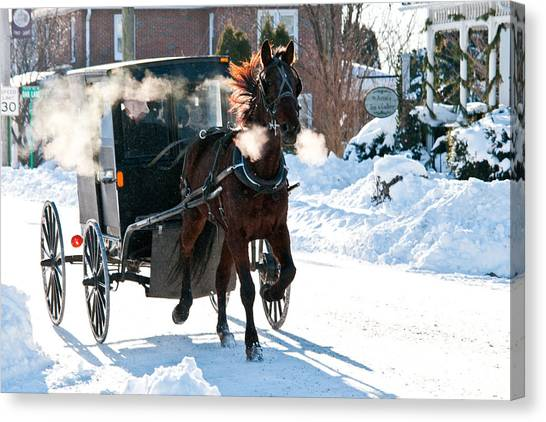 Horse And Buggy In The Snow Canvas Print