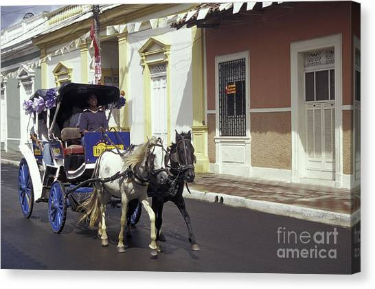 Horse And Carriage Granada Nicaragua Canvas Print by John  Mitchell