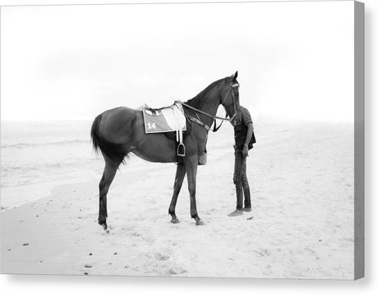Horse And Man On The Beach Black And White Canvas Print by Kittipan Boonsopit