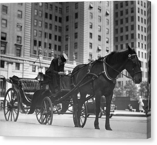 Horse Drawn Carriage, Nyc Canvas Print by George Marks