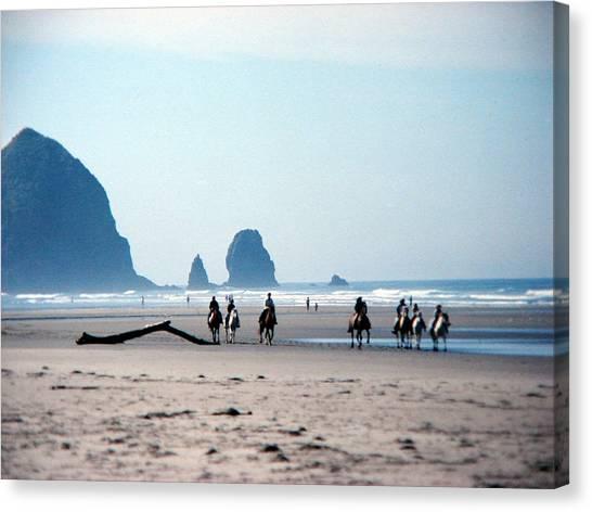 Horse Riders On Canon Beach Oregon Canvas Print