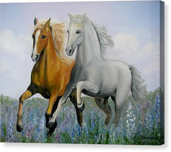 Horses And Bluebonnets Canvas Print by Kay Mashburn