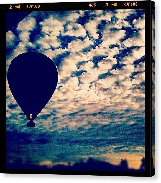 Balloons Canvas Print - Hot Air Balloon Cruising Over Our House by Luke Fuda
