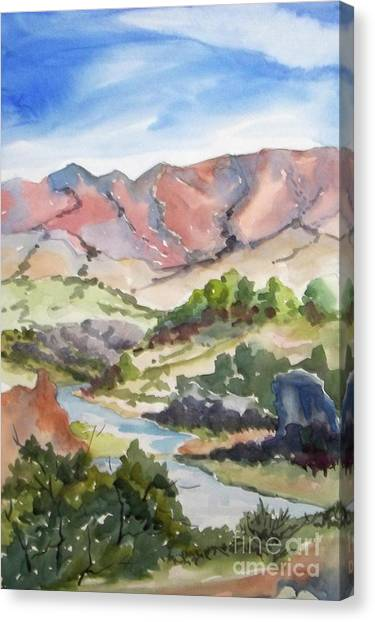 Hot Creek Looking East To The White Canvas Print