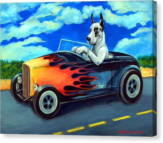 Hot Dogs Canvas Print - Hot Rod Harl by Lyn Cook