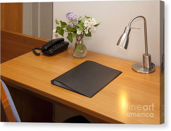 Binders Canvas Print - Hotel Room Desk by Jaak Nilson