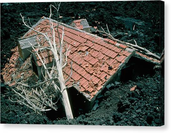Mount Etna Canvas Print - House And Lava Flow by Dr Juerg Alean