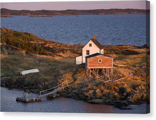 Newfoundland And Labrador Canvas Print - House And Stage, Change Islands by John Sylvester