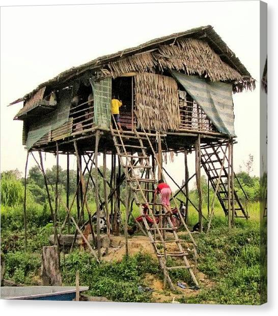 Bamboo Canvas Print - House Of orang Asli In Pahang by Manan Din