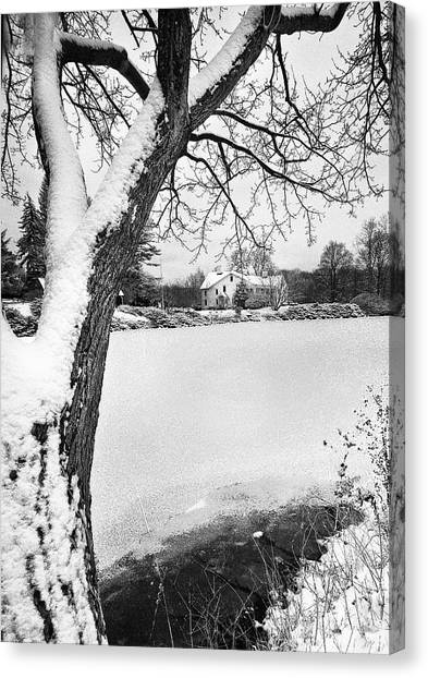 House On Frozen Lake Canvas Print by Ercole Gaudioso