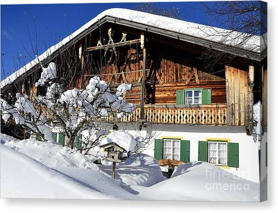 House Under Heavy Snow In Alps Canvas Print