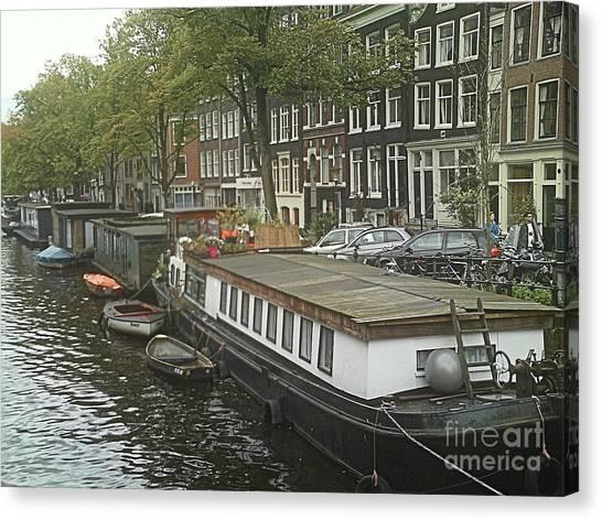 Houseboats Of Rotterdam Canvas Print by Jennifer Sabir