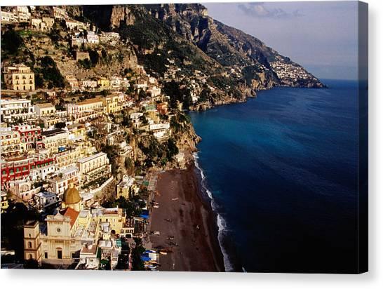 Houses And Church Of Santa Maria Assunta Above Spaggia Grande Beach, Positano, Italy Canvas Print by Craig  Pershouse