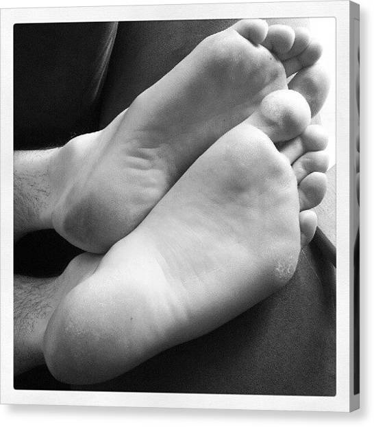 Feet Canvas Print - Hubby's Sleeping Feet. #feet #husband by Jess Gowan