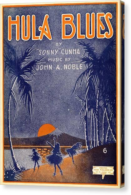 Hawaii Canvas Print - Hula Blues by Mel Thompson