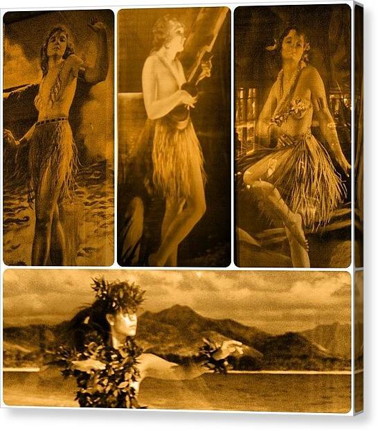 Ukuleles Canvas Print - Hula Girls. #hula #hulagirls #vintage by Christopher Hughes